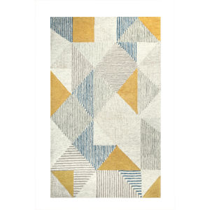 Griffin Blue Wool Rectangular: 5 Ft x 8 Ft Area Rug