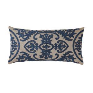 Lana Navy 24-Inch Linen Throw Pillow