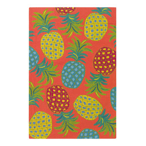 Pineapples Coral Rectangular: 3 Ft. 6 In. x 5 Ft. 6 In. Indoor/Outdoor Rug