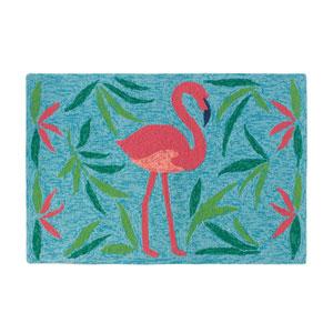 Fancy Flamingo Aqua Rectangular: 2 Ft. x 3 Ft. Indoor/Outdoor Rug