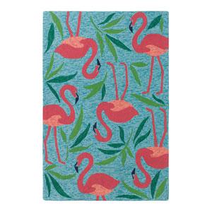 Fancy Flamingo Aqua Rectangular: 8 Ft. x 10 Ft. Indoor/Outdoor Rug