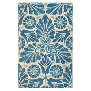 Painted Medallion Blue Rectangular: 2 Ft. x 3 Ft. Rug