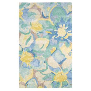 Blue Poppies Blue Rectangular: 3 Ft. x 5 Ft. Rug