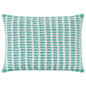 Macrame Aqua 14 x 20 In. Throw Pillow with Down Insert