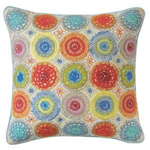 High Jinks Multicolor 18 In. Throw Pillow with Down Insert