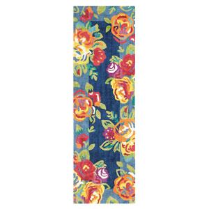Cabbage Roses Navy Runner: 2 Ft. 6 In. x 8 Ft. Rug