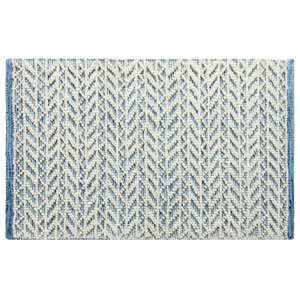 Herringbone Berber Blue Rectangluar: 2 Ft. x 3 Ft. Indoor/Outdoor Rug