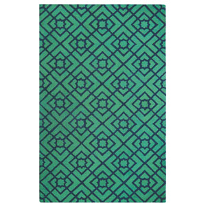 Diamond Lattice Green Rectangular: 5 Ft. x 8 Ft. Indoor Rug