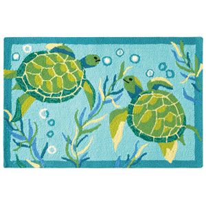 Turtle Bay Turquoise Rectangluar: 2 Ft. x 3 Ft. Indoor/Outdoor Rug
