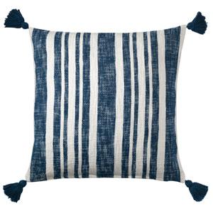 Denim Stripe Navy 22 In. Throw Pillow