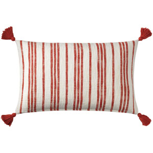 Grain Sack Red 16 x 26 In. Throw Pillow