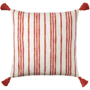 Grain Sack Red 22 In. Throw Pillow