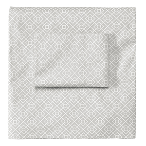Diamond Lattice Pewter Queen Sheet Set