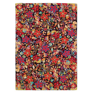 Wendys Garden Black Rectangular: 3 Ft. x 5 Ft. Rug