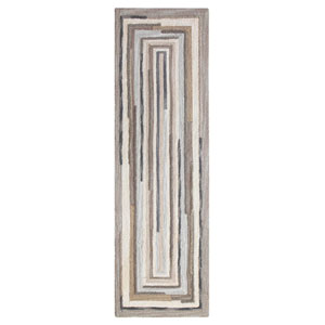 Concentric Squares Gray Runner: 2 Ft. 6 In. x 8 Ft. Rug