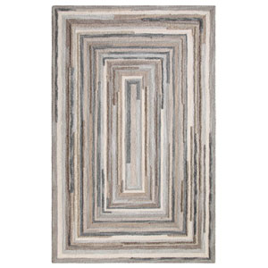 Concentric Squares Gray Rectangular: 4 Ft. x 6 Ft. Rug