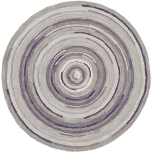 Concentric Squares Gray Round: 7 Ft. Rug