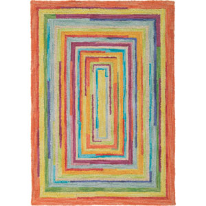 Concentric Squares Multicolor Round: 9 Ft. Rug
