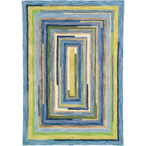Concentric Squares Sky Rectangular: 5 Ft. x 8 Ft. Rug