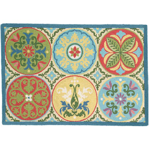Stepping Stones  Multicolor Rectangular: 2 Ft. x 3 Ft. Rug