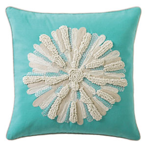 Asters Aqua 18 In. Throw Pillow with Down Insert