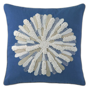 Asters Blue 18 In. Throw Pillow with Down Insert