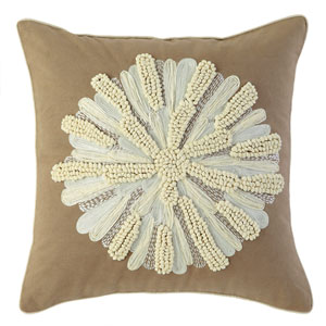 Asters Driftwood 18 In. Throw Pillow with Down Insert