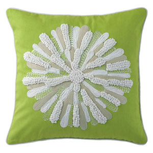 Asters Lime 18 In. Throw Pillow with Down Insert
