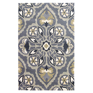 Pierre Pewter Rectangular: 3 Ft. 6 In. x 5 Ft. 6 In. Indoor/Outdoor Rug