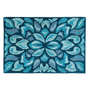 Petal Pusher Mineral Blue Rectangular: 2 Ft. x 3 Ft. Indoor/Outdoor Rug
