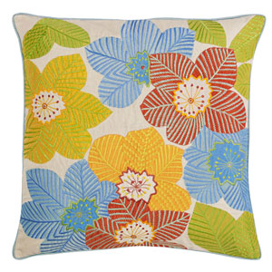 Palmetto Multicolor 22 In. Throw Pillow with Down Insert