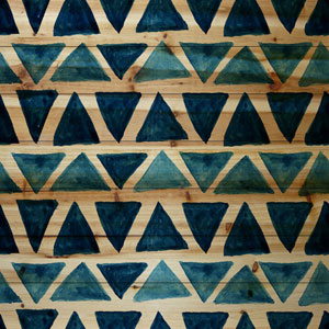 Blue Triangle Bows 18 x 18 In. Painting Print on Natural Pine Wood