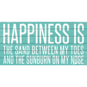 Happiness Is 36 x 18 In. Painting Print on White Wood