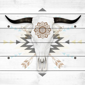 Brave Skull 18 x 18 In. Painting Print on White Wood