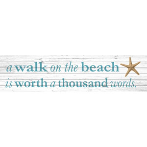 A Walk on the Beach 60 x 20 In. Painting Print on White Wood