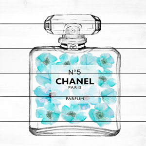 Aquamarine Chanel 32 x 32 In. Painting Print on White Wood