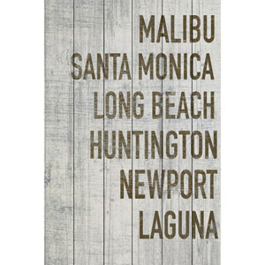 Beaches of California in Grey 12 x 18 In. Painting Print on White Wood