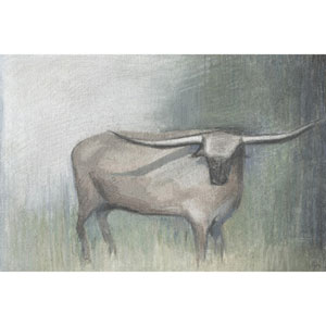 Longhorn Grey 30 x 20 In. Painting Print on Wrapped Canvas