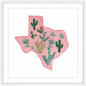 Pink Texas 12 x 12 In. Framed Painting Print