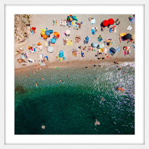 Packed Beach 18 x 18 In. Framed Painting Print