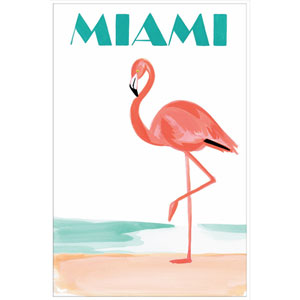 Miami Flamingo 16 x 24 In. Painting Print on Wrapped Canvas