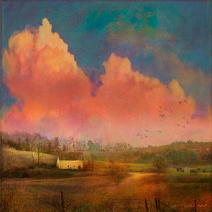 Pastoral Sunset 32 x 32 In. Painting Print on Wrapped Canvas