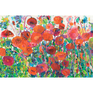 Plentiful Poppies 18 x 12 In. Painting Print on Wrapped Canvas