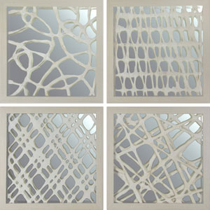 Gray Space Paper Art with Mirror in Shadow Box, Set of Four