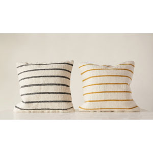Shoreline Woven Grey and Gold Striped Square Wool Blend Pillows - Set of 2