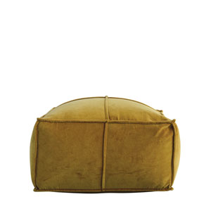 Collected Notions Goldenrod Square Cotton Velvet Pouf