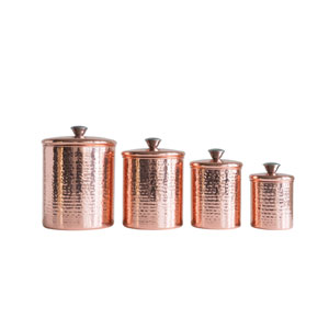 Sonoma Hammered Stainless Steel Canisters with Lids in Copper Finish - Set of 4