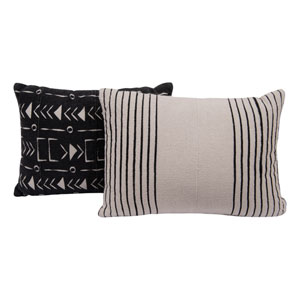 Collected Notions Black and White African Mudcloth Patterned Cotton Pillows - Set of 2