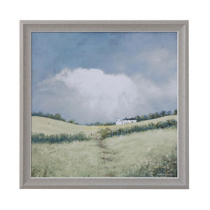 Casual Country Blue Framed Landscape Canvas Wall Decor
