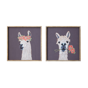 Little One Square Wood Framed Llama Wall Decor - Set of 2